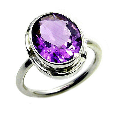 Classic Amethyst & .925 Sterling Silver Ring Size 5.25 - The Silver Plaza