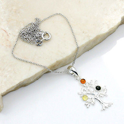 TREE OF LIFE BALTIC AMBER & 925 SILVER NECKLACE PENDANT CHAIN AD612 - The Silver Plaza