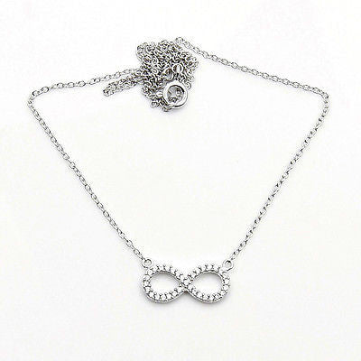 Infinity CZ & .925 Sterling Silver Necklace Z475 - The Silver Plaza
