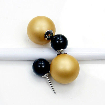 TRIBAL GOLD BLACK DOUBLE-SIDED FRONT BACK PEARL ORB & .925 SILVER EARRINGS AB515 - The Silver Plaza