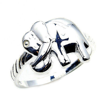 'Good Luck Elephant' Solid .925 Sterling Silver Ring Size 7.75 - The Silver Plaza