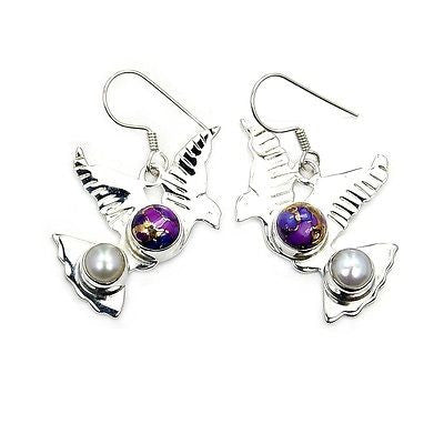 Purple Turquoise & Sterling Silver Earrings AB333 - The Silver Plaza