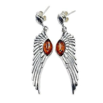 Angel Wings Amber & Sterling Silver Earrings - The Silver Plaza