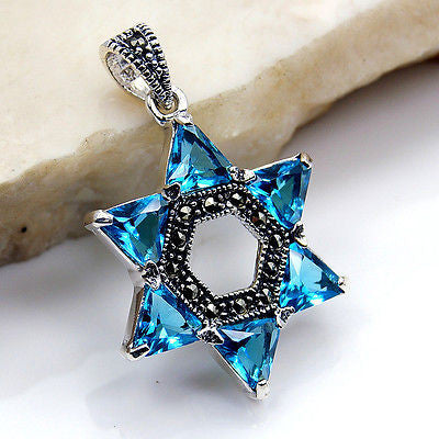 """Jewish Star of David"" Blue CZ, Marcasite & .925 Sterling Silver Pendant - The Silver Plaza"