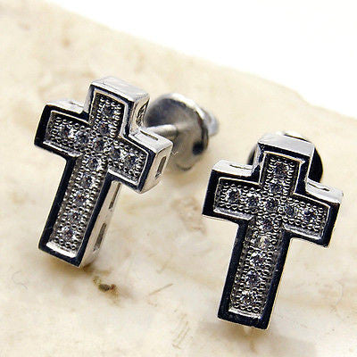 Cubic Zirconia Cross & .925 Sterling Silver Earrings - The Silver Plaza