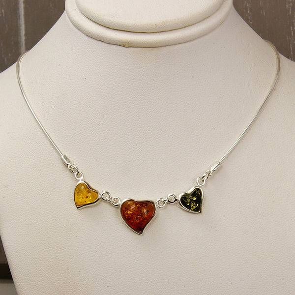 Sweet Hearts Sterling Silver Natural Baltic Amber Necklace - The Silver Plaza