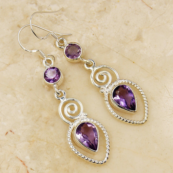 'Twisted Love' Amethyst & .925 Sterling Silver Earrings - The Silver Plaza