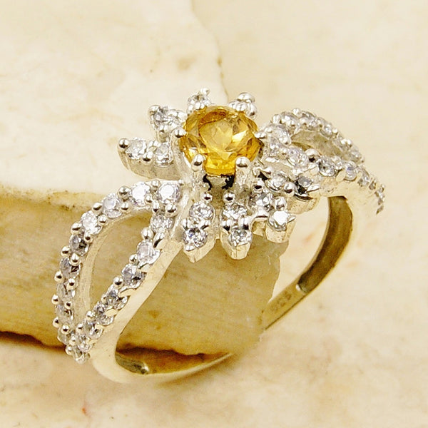 'Sunshine Forever' Flower Citrine & .925 Sterling Silver Ring Size 7.75 - The Silver Plaza