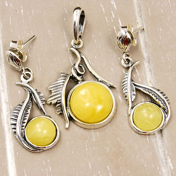 Falling Leaves Baltic Amber & Sterling Silver Earrings and Pendant Set - Emavera - 1
