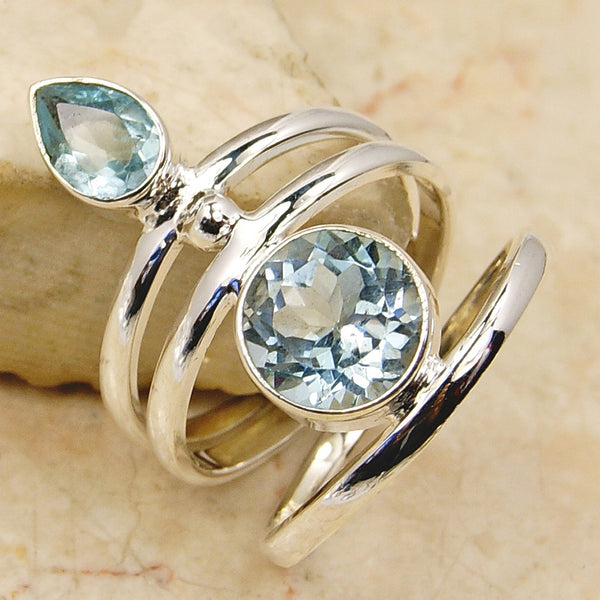 'Spark of Life' Blue Topaz & .925 Sterling Silver Ring Size 5 - The Silver Plaza