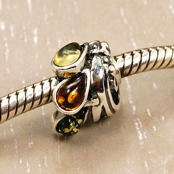 Love Trio Path Baltic Amber & .925 Sterling Silver Bead for Charm Bracelets - Emavera - 1