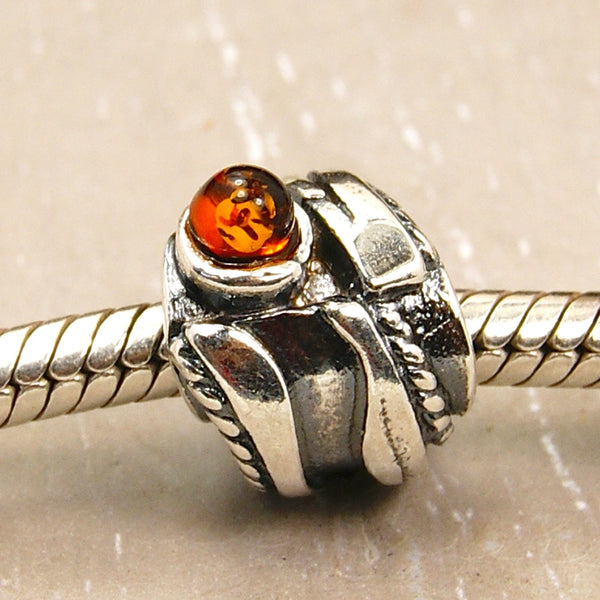 Golden Path Baltic Amber & .925 Sterling Silver Bead for Charm Bracelets - Emavera - 1