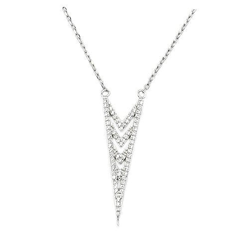 Sterling Silver, Micro Pave Cubic Zirconia Triangle V Necklace - Emavera