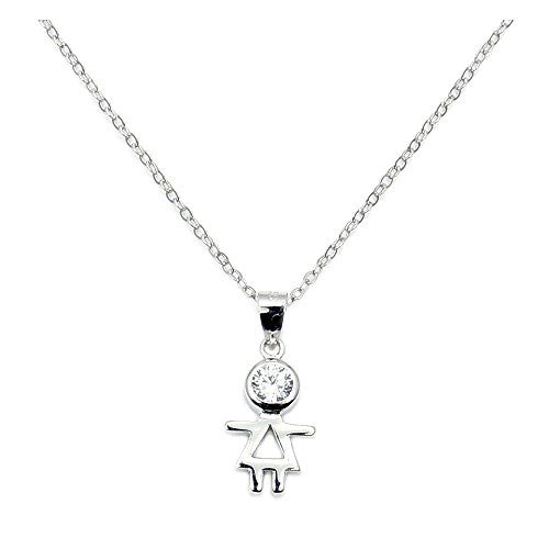 Sterling Silver, Cubic Zirconia Little Girl Necklace - Emavera