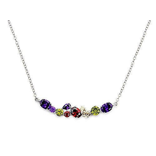 Colorful Cluster Style Sterling Silver Cubic Zirconia Necklace - The Silver Plaza