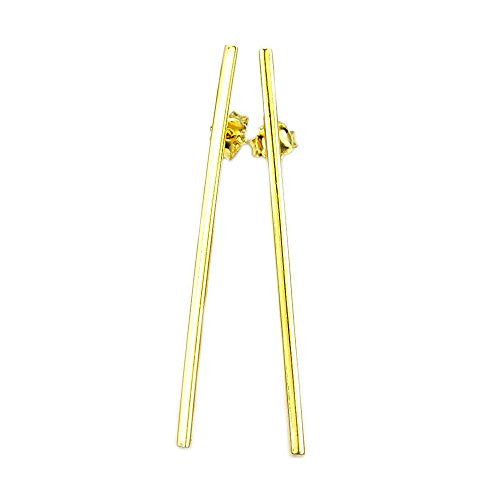 Solid Sterling Silver Gold Vermeil Bar Earrings - The Silver Plaza