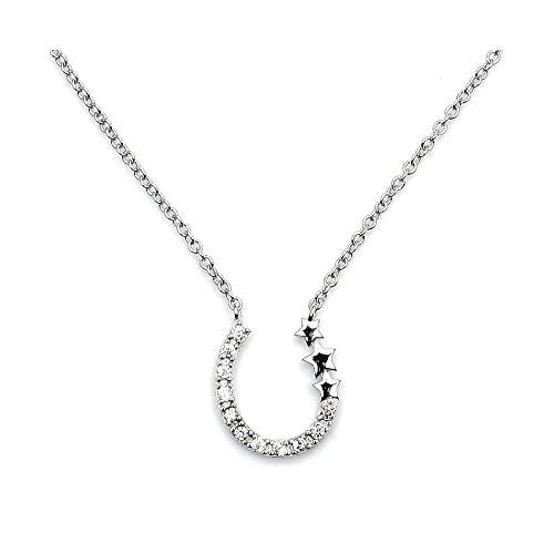 Sterling Silver Cubic Zirconia Horseshoe & Stars Necklace - Emavera