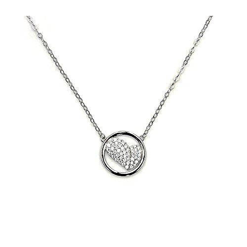 'My Love' Sparkling Sterling Silver Cubic Zirconia Heart Necklace - The Silver Plaza