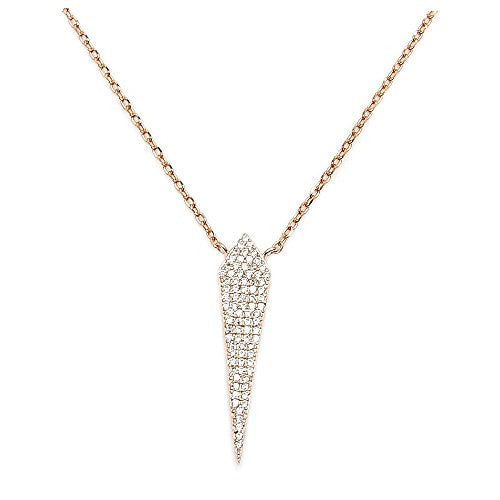 Rose Gold Over Sterling Silver, Micro Pave Cubic Zirconia Kite Necklace - The Silver Plaza