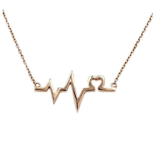 Rose Gold Over Solid Sterling Silver Lifeline & Heart Necklace - The Silver Plaza