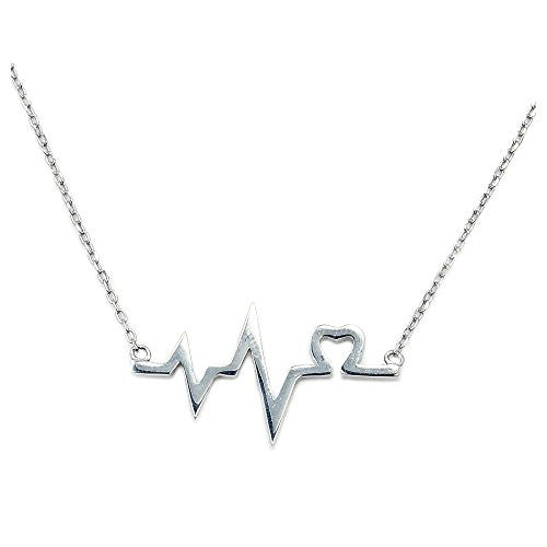 Solid Sterling Silver Lifeline & Heart Necklace - The Silver Plaza