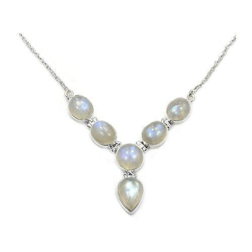 'Princess Luna' Sterling Silver Moonstone Y - Necklace - The Silver Plaza