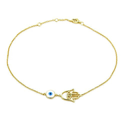 Gold Vermeil Sterling Silver Hamsa Hand, Evil Eye Anklet - The Silver Plaza