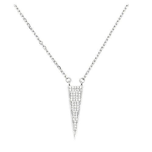 Sterling Silver, Micro Pave Cubic Zirconia Triangle Necklace - Emavera