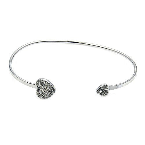 'Soulmates' Sterling Silver & Cubic Zirconia Hearts Cuff Bracelet - The Silver Plaza