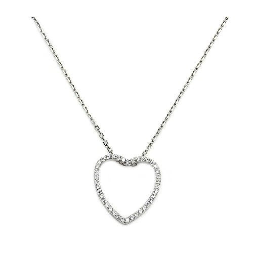 "'Love Declared' Sparkling Sterling Silver Cubic Zirconia Heart Necklace, 18"" - Emavera"