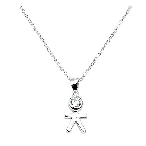 Sterling Silver, Cubic Zirconia Little Boy Necklace - Emavera