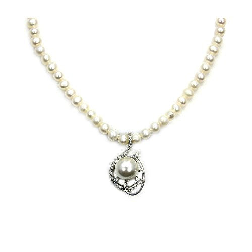 Faux Pearl Strand Necklace with Sterling Silver & CZ Pendant - The Silver Plaza