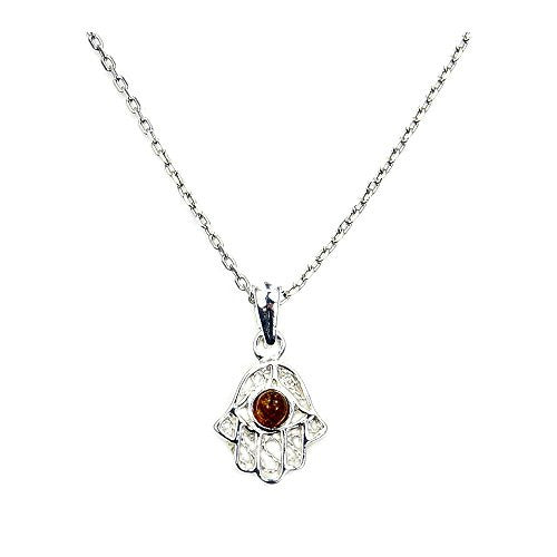 Sterling Silver Natural Baltic Amber Hamsa Hand Pendant Necklace - The Silver Plaza