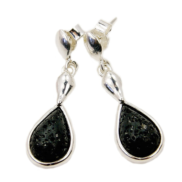 Volcanic Lava Rock & Sterling Silver Dangle Earrings - The Silver Plaza