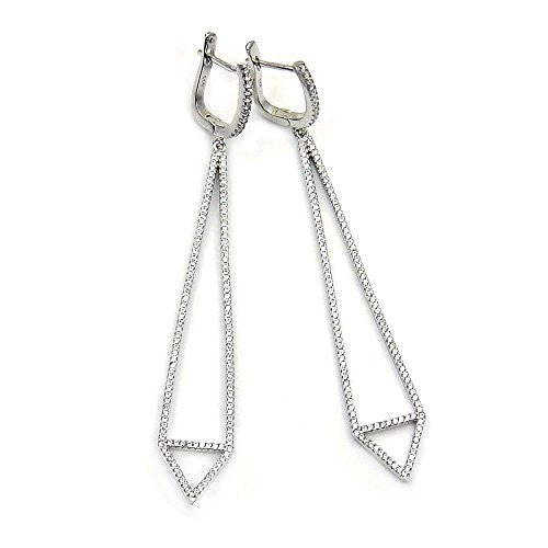 Long Ultra Envy Sterling Silver Micro Pave Cubic Zirconia Dangle Earrings - The Silver Plaza