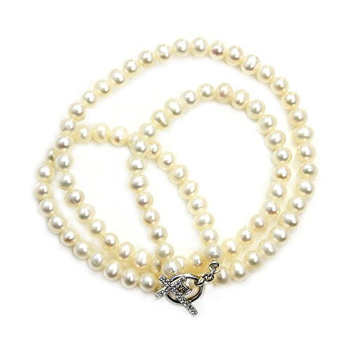 Faux Pearl Strand Necklace with Sterling Silver & CZ Cross Toggle Clasp - Emavera