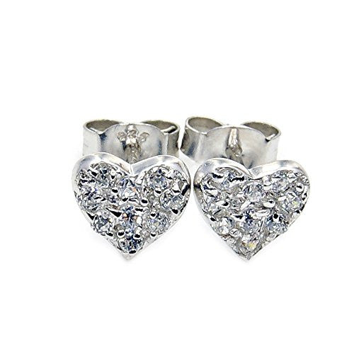 Cute Sterling Silver Cubic Zirconia Heart Stud Earrings - The Silver Plaza