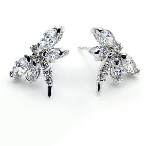 Sterling Silver CZ Dragonfly Stud Earrings - The Silver Plaza