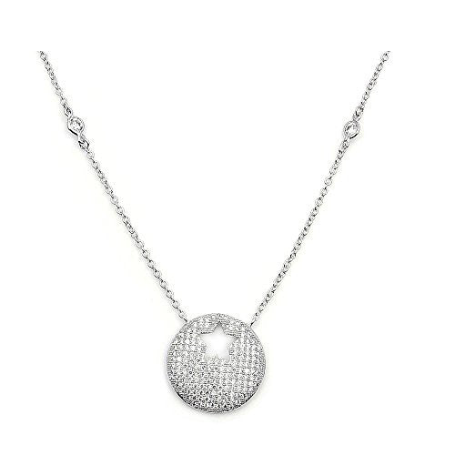 Sparkling Sterling Silver Micro Pave Cubic Zirconia Open Star Necklace - The Silver Plaza