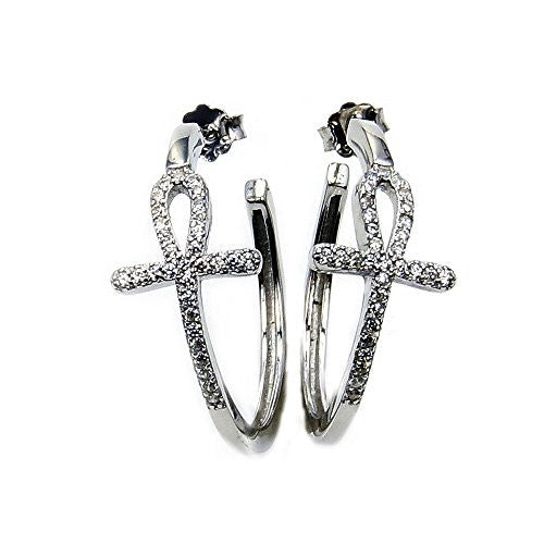 'The Ankh' Sterling Silver Cubic Zirconia Cross Hoop Earrings - The Silver Plaza