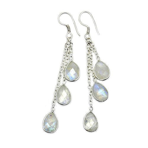 Sterling Silver Moonstone Chandelier Earrings - The Silver Plaza