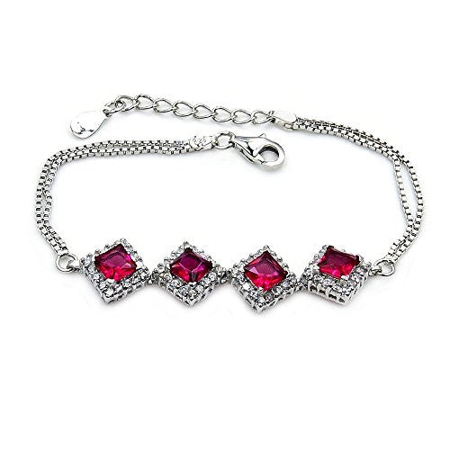 "Glamorous Sterling Silver Pink CZ Bracelet, Adjustable From 6.25""-7.25"" - The Silver Plaza"