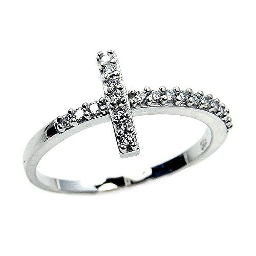 Sterling Silver Cubic Zirconia Cross Ring Size 9 - The Silver Plaza