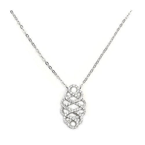 'In Love' Sterling Silver Micro Pave Cubic Zirconia Necklace - The Silver Plaza