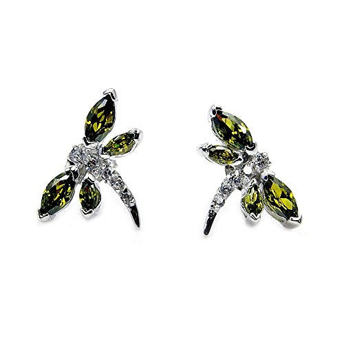 Sterling Silver Olive Green CZ Dragonfly Stud Earrings - The Silver Plaza