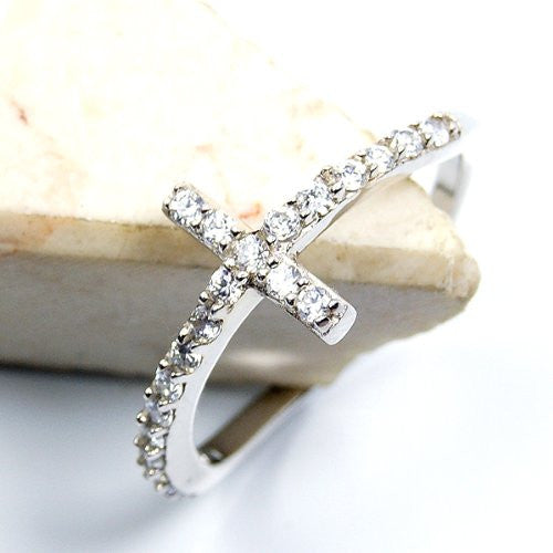 'Cross of Faith' Cubic Zirconia & Sterling Silver Wavy Design Ring Size 6.75 - Emavera