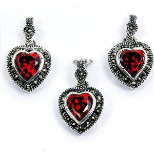 Three Hearts' Sterling Silver Red CZ, Marcasite Earrings & Pendant Set - The Silver Plaza