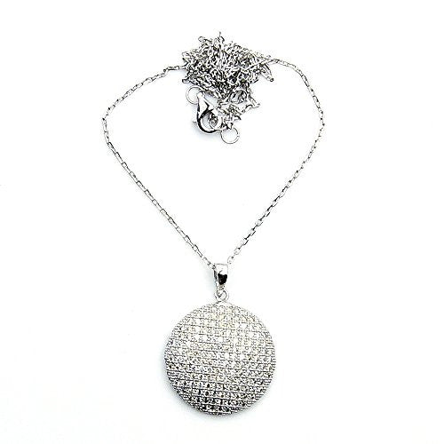 'Magic Circle' Sparkling Sterling Silver Cubic Zirconia Necklace - The Silver Plaza
