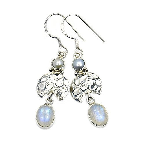 'Bridal Bliss' Sterling Silver Moonstone, Simulated Pearl Dangle Earrings - The Silver Plaza