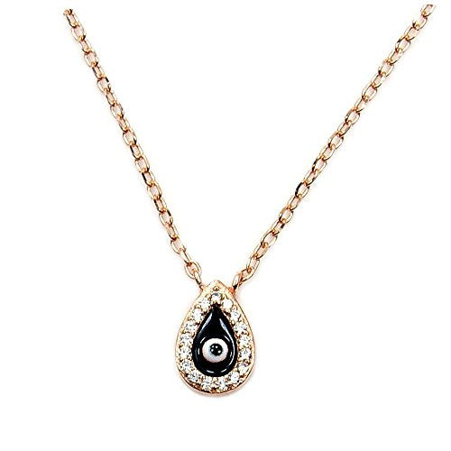 Rose Gold Over Sterling Silver, Cubic Zirconia Evil Eye Necklace - The Silver Plaza